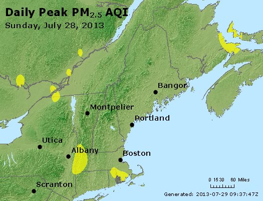 Peak Particles PM<sub>2.5</sub> (24-hour) - http://files.airnowtech.org/airnow/2013/20130728/peak_pm25_vt_nh_ma_ct_ri_me.jpg