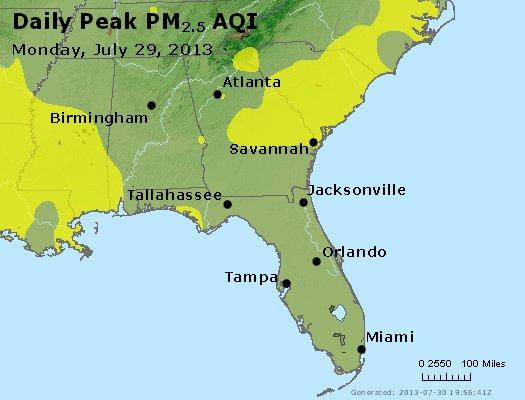 Peak Particles PM<sub>2.5</sub> (24-hour) - http://files.airnowtech.org/airnow/2013/20130729/peak_pm25_al_ga_fl.jpg