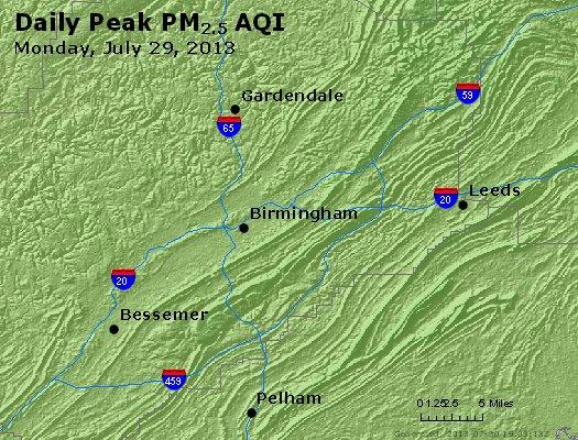 Peak Particles PM<sub>2.5</sub> (24-hour) - http://files.airnowtech.org/airnow/2013/20130729/peak_pm25_birmingham_al.jpg