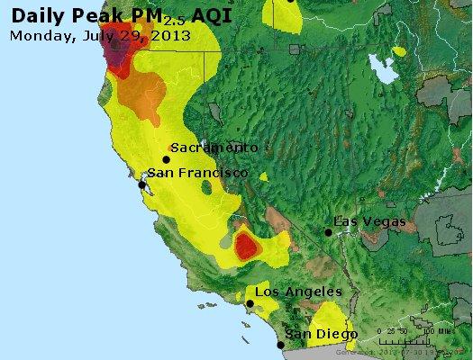 Peak Particles PM<sub>2.5</sub> (24-hour) - http://files.airnowtech.org/airnow/2013/20130729/peak_pm25_ca_nv.jpg