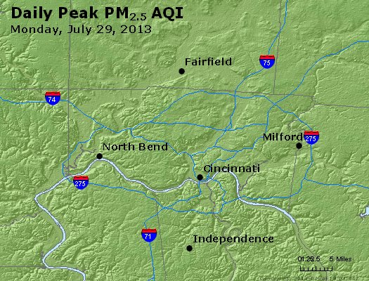 Peak Particles PM<sub>2.5</sub> (24-hour) - http://files.airnowtech.org/airnow/2013/20130729/peak_pm25_cincinnati_oh.jpg