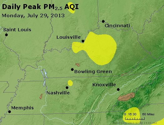 Peak Particles PM<sub>2.5</sub> (24-hour) - http://files.airnowtech.org/airnow/2013/20130729/peak_pm25_ky_tn.jpg