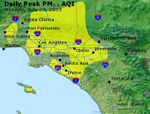Peak Particles PM<sub>2.5</sub> (24-hour) - http://files.airnowtech.org/airnow/2013/20130729/peak_pm25_losangeles_ca.jpg