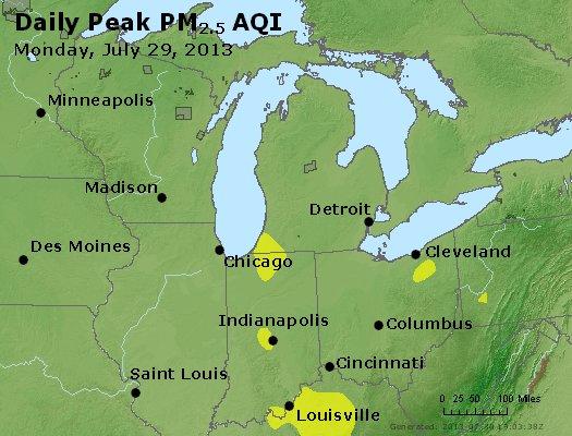 Peak Particles PM<sub>2.5</sub> (24-hour) - http://files.airnowtech.org/airnow/2013/20130729/peak_pm25_mi_in_oh.jpg