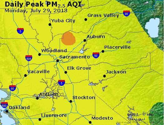 Peak Particles PM<sub>2.5</sub> (24-hour) - http://files.airnowtech.org/airnow/2013/20130729/peak_pm25_sacramento_ca.jpg