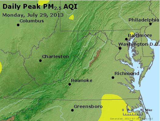 Peak Particles PM<sub>2.5</sub> (24-hour) - http://files.airnowtech.org/airnow/2013/20130729/peak_pm25_va_wv_md_de_dc.jpg
