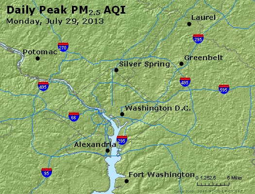 Peak Particles PM<sub>2.5</sub> (24-hour) - http://files.airnowtech.org/airnow/2013/20130729/peak_pm25_washington_dc.jpg