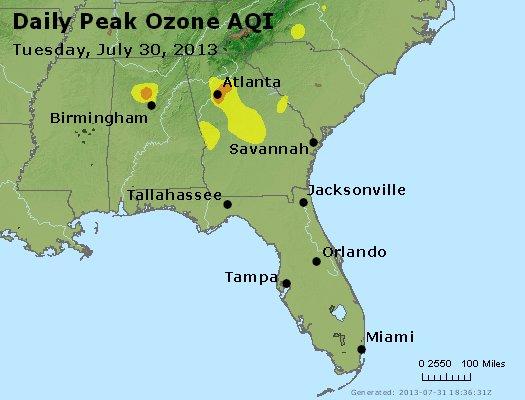 Peak Ozone (8-hour) - http://files.airnowtech.org/airnow/2013/20130730/peak_o3_al_ga_fl.jpg
