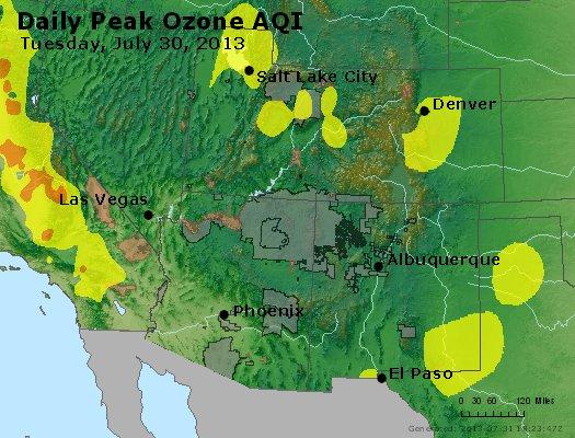Peak Ozone (8-hour) - http://files.airnowtech.org/airnow/2013/20130730/peak_o3_co_ut_az_nm.jpg