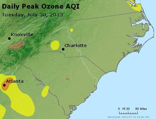Peak Ozone (8-hour) - http://files.airnowtech.org/airnow/2013/20130730/peak_o3_nc_sc.jpg