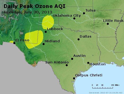 Peak Ozone (8-hour) - http://files.airnowtech.org/airnow/2013/20130730/peak_o3_tx_ok.jpg