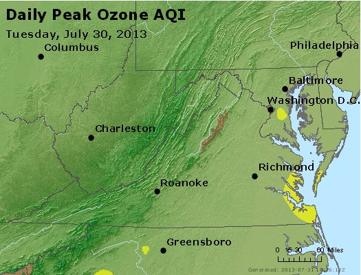 Peak Ozone (8-hour) - http://files.airnowtech.org/airnow/2013/20130730/peak_o3_va_wv_md_de_dc.jpg
