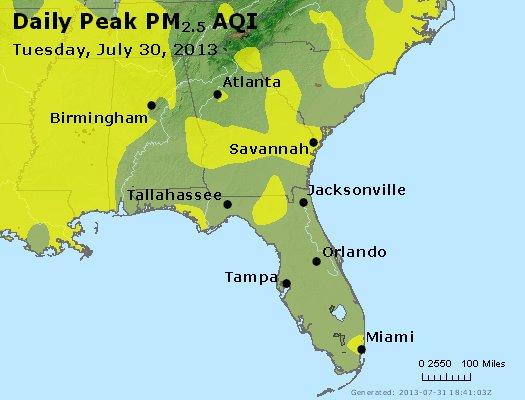 Peak Particles PM<sub>2.5</sub> (24-hour) - http://files.airnowtech.org/airnow/2013/20130730/peak_pm25_al_ga_fl.jpg