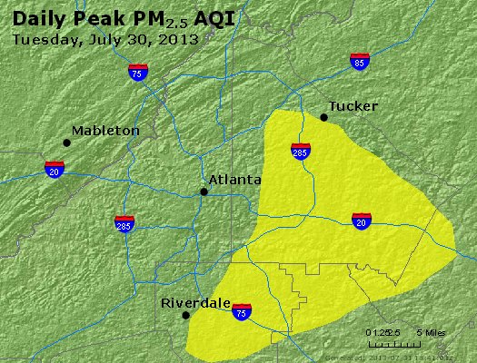 Peak Particles PM<sub>2.5</sub> (24-hour) - http://files.airnowtech.org/airnow/2013/20130730/peak_pm25_atlanta_ga.jpg