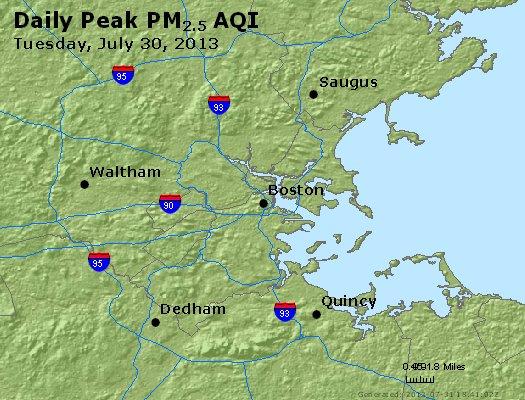 Peak Particles PM<sub>2.5</sub> (24-hour) - http://files.airnowtech.org/airnow/2013/20130730/peak_pm25_boston_ma.jpg