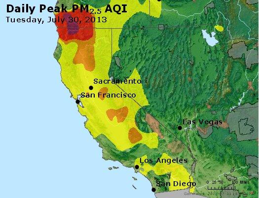 Peak Particles PM<sub>2.5</sub> (24-hour) - http://files.airnowtech.org/airnow/2013/20130730/peak_pm25_ca_nv.jpg