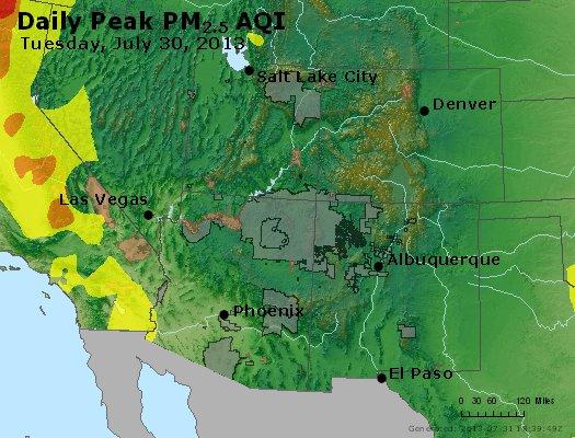 Peak Particles PM<sub>2.5</sub> (24-hour) - http://files.airnowtech.org/airnow/2013/20130730/peak_pm25_co_ut_az_nm.jpg