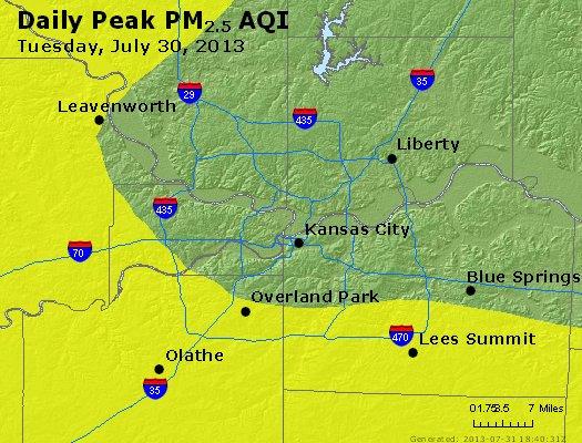 Peak Particles PM<sub>2.5</sub> (24-hour) - http://files.airnowtech.org/airnow/2013/20130730/peak_pm25_kansascity_mo.jpg