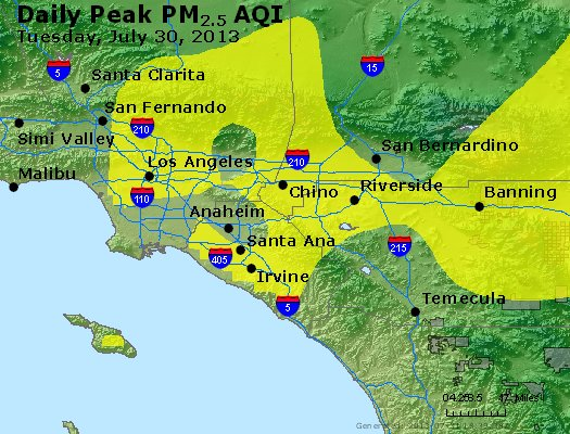 Peak Particles PM<sub>2.5</sub> (24-hour) - http://files.airnowtech.org/airnow/2013/20130730/peak_pm25_losangeles_ca.jpg