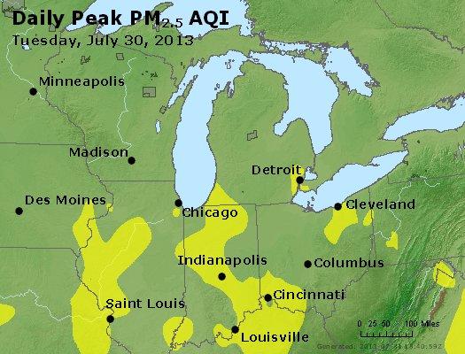 Peak Particles PM<sub>2.5</sub> (24-hour) - http://files.airnowtech.org/airnow/2013/20130730/peak_pm25_mi_in_oh.jpg