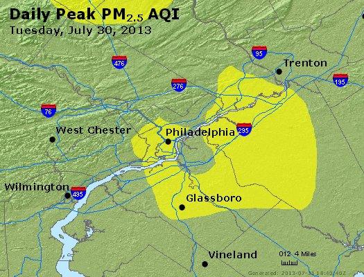 Peak Particles PM<sub>2.5</sub> (24-hour) - http://files.airnowtech.org/airnow/2013/20130730/peak_pm25_philadelphia_pa.jpg
