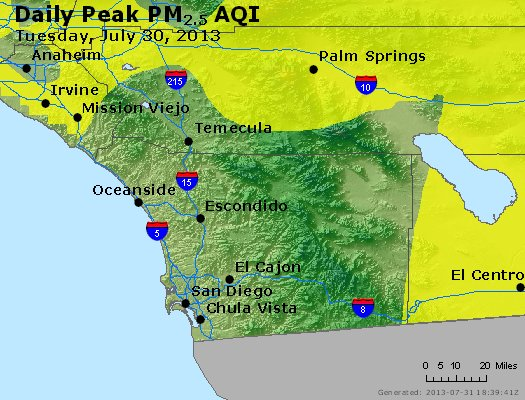 Peak Particles PM<sub>2.5</sub> (24-hour) - http://files.airnowtech.org/airnow/2013/20130730/peak_pm25_sandiego_ca.jpg