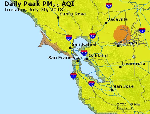 Peak Particles PM<sub>2.5</sub> (24-hour) - http://files.airnowtech.org/airnow/2013/20130730/peak_pm25_sanfrancisco_ca.jpg