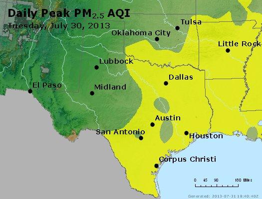 Peak Particles PM<sub>2.5</sub> (24-hour) - http://files.airnowtech.org/airnow/2013/20130730/peak_pm25_tx_ok.jpg