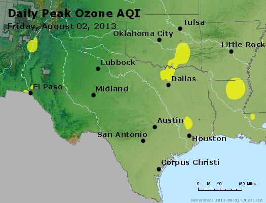 Peak Ozone (8-hour) - http://files.airnowtech.org/airnow/2013/20130802/peak_o3_tx_ok.jpg