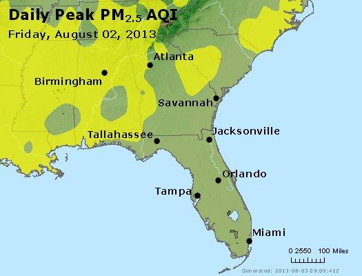 Peak Particles PM<sub>2.5</sub> (24-hour) - http://files.airnowtech.org/airnow/2013/20130802/peak_pm25_al_ga_fl.jpg
