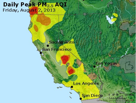 Peak Particles PM<sub>2.5</sub> (24-hour) - http://files.airnowtech.org/airnow/2013/20130802/peak_pm25_ca_nv.jpg