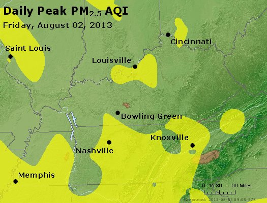 Peak Particles PM<sub>2.5</sub> (24-hour) - http://files.airnowtech.org/airnow/2013/20130802/peak_pm25_ky_tn.jpg