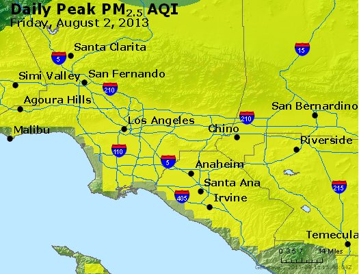 Peak Particles PM<sub>2.5</sub> (24-hour) - http://files.airnowtech.org/airnow/2013/20130802/peak_pm25_losangeles_ca.jpg