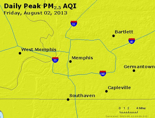 Peak Particles PM<sub>2.5</sub> (24-hour) - http://files.airnowtech.org/airnow/2013/20130802/peak_pm25_memphis_tn.jpg
