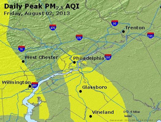Peak Particles PM<sub>2.5</sub> (24-hour) - http://files.airnowtech.org/airnow/2013/20130802/peak_pm25_philadelphia_pa.jpg