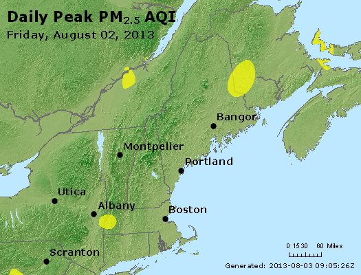 Peak Particles PM<sub>2.5</sub> (24-hour) - http://files.airnowtech.org/airnow/2013/20130802/peak_pm25_vt_nh_ma_ct_ri_me.jpg