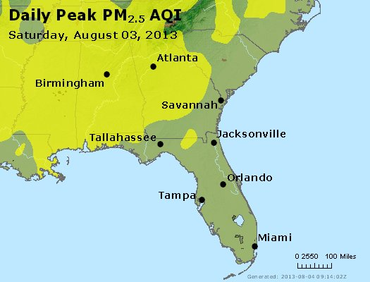 Peak Particles PM<sub>2.5</sub> (24-hour) - http://files.airnowtech.org/airnow/2013/20130803/peak_pm25_al_ga_fl.jpg