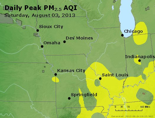 Peak Particles PM<sub>2.5</sub> (24-hour) - http://files.airnowtech.org/airnow/2013/20130803/peak_pm25_ia_il_mo.jpg