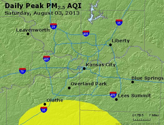 Peak Particles PM<sub>2.5</sub> (24-hour) - http://files.airnowtech.org/airnow/2013/20130803/peak_pm25_kansascity_mo.jpg