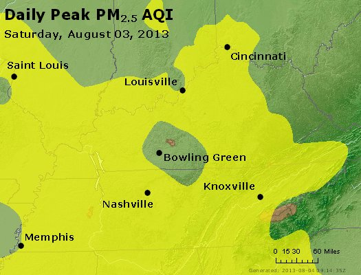 Peak Particles PM<sub>2.5</sub> (24-hour) - http://files.airnowtech.org/airnow/2013/20130803/peak_pm25_ky_tn.jpg