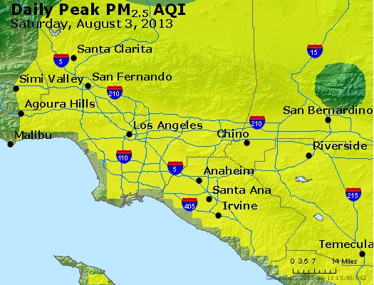 Peak Particles PM<sub>2.5</sub> (24-hour) - http://files.airnowtech.org/airnow/2013/20130803/peak_pm25_losangeles_ca.jpg