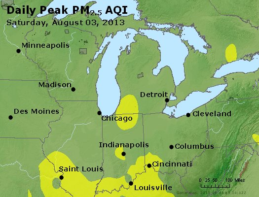 Peak Particles PM<sub>2.5</sub> (24-hour) - http://files.airnowtech.org/airnow/2013/20130803/peak_pm25_mi_in_oh.jpg