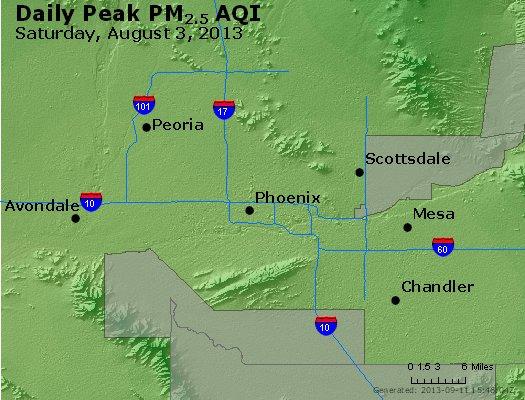 Peak Particles PM<sub>2.5</sub> (24-hour) - http://files.airnowtech.org/airnow/2013/20130803/peak_pm25_phoenix_az.jpg