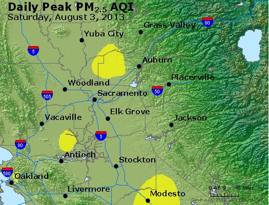 Peak Particles PM<sub>2.5</sub> (24-hour) - http://files.airnowtech.org/airnow/2013/20130803/peak_pm25_sacramento_ca.jpg
