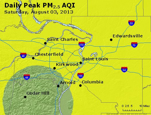 Peak Particles PM<sub>2.5</sub> (24-hour) - http://files.airnowtech.org/airnow/2013/20130803/peak_pm25_stlouis_mo.jpg