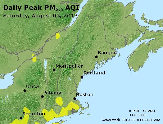 Peak Particles PM<sub>2.5</sub> (24-hour) - http://files.airnowtech.org/airnow/2013/20130803/peak_pm25_vt_nh_ma_ct_ri_me.jpg