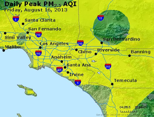 Peak Particles PM<sub>2.5</sub> (24-hour) - http://files.airnowtech.org/airnow/2013/20130816/peak_pm25_losangeles_ca.jpg