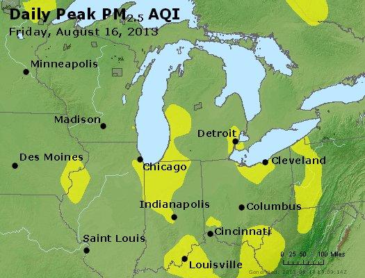Peak Particles PM<sub>2.5</sub> (24-hour) - http://files.airnowtech.org/airnow/2013/20130816/peak_pm25_mi_in_oh.jpg
