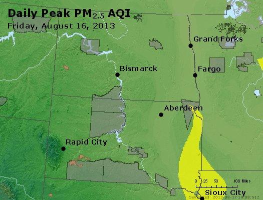 Peak Particles PM<sub>2.5</sub> (24-hour) - http://files.airnowtech.org/airnow/2013/20130816/peak_pm25_nd_sd.jpg