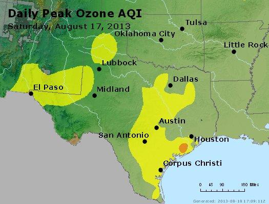Peak Ozone (8-hour) - http://files.airnowtech.org/airnow/2013/20130817/peak_o3_tx_ok.jpg